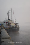 MS Oldenburgh in morning mist, preparing to depart for Lundy Island, England.
